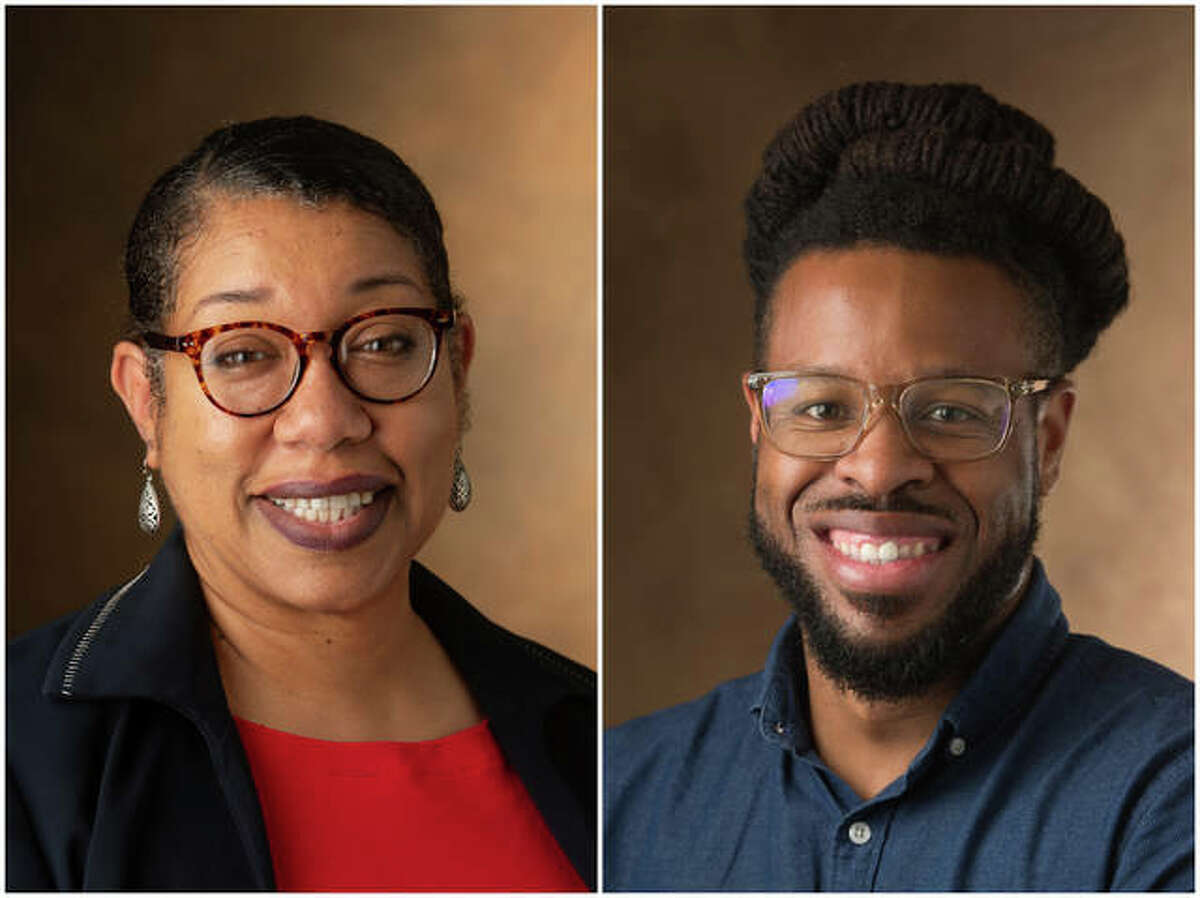 School of Education, Health and Human Behavior Dean Robin Hughes, PhD, left, and J.T. Snipes, PhD, assistant professor of educational leadership and co-program director for the College Student Personnel Administration Program (CSPA)