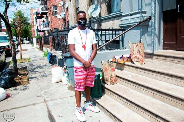 Brooks poses in New York City during the For the Hood Tour. During the tour, Brooks and other volunteers were able to provide those in need with groceries, PPE kits and other necessary goods. (Courtesy photo)