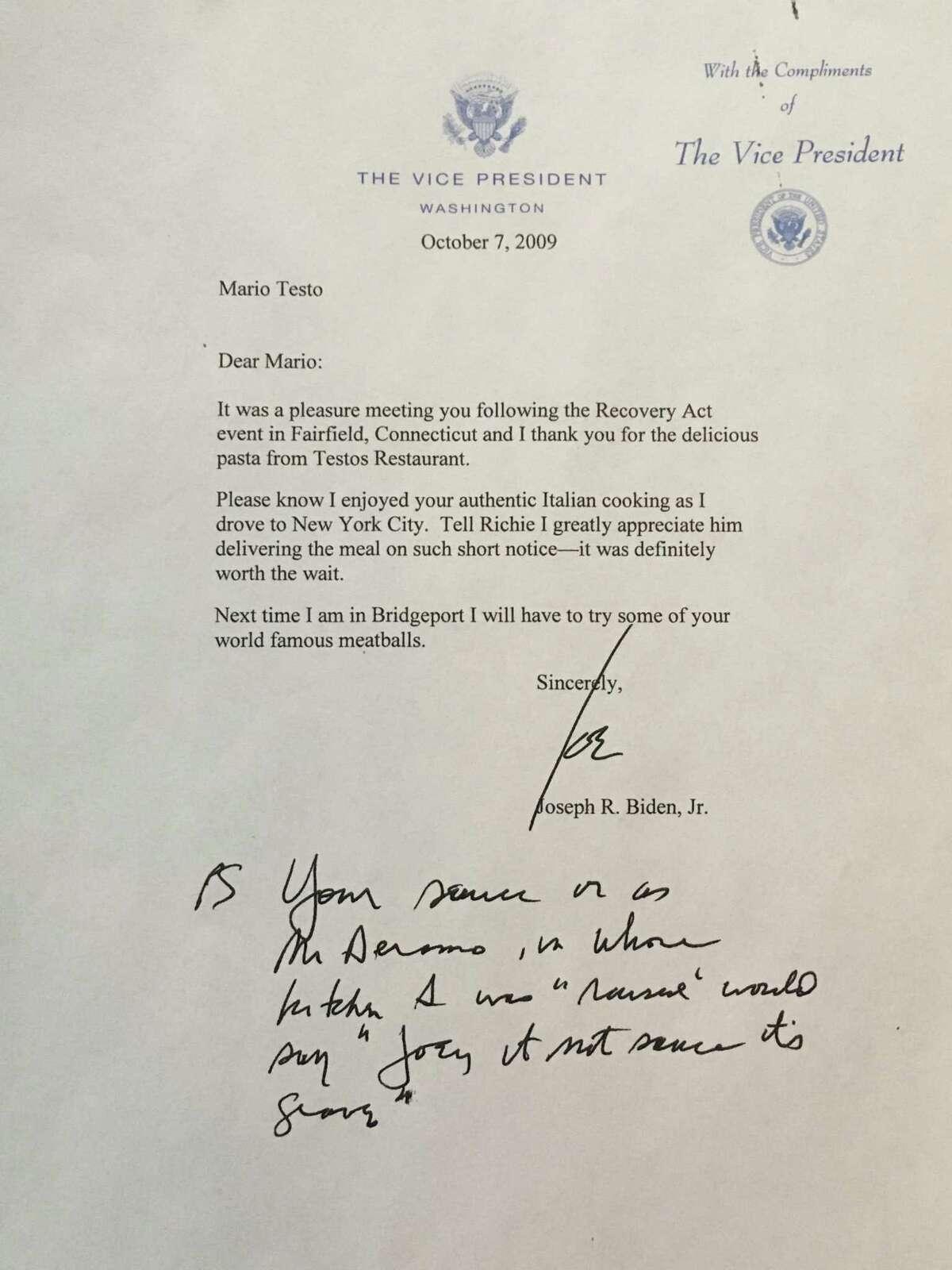 A letter from Joe Biden to Mario Testa