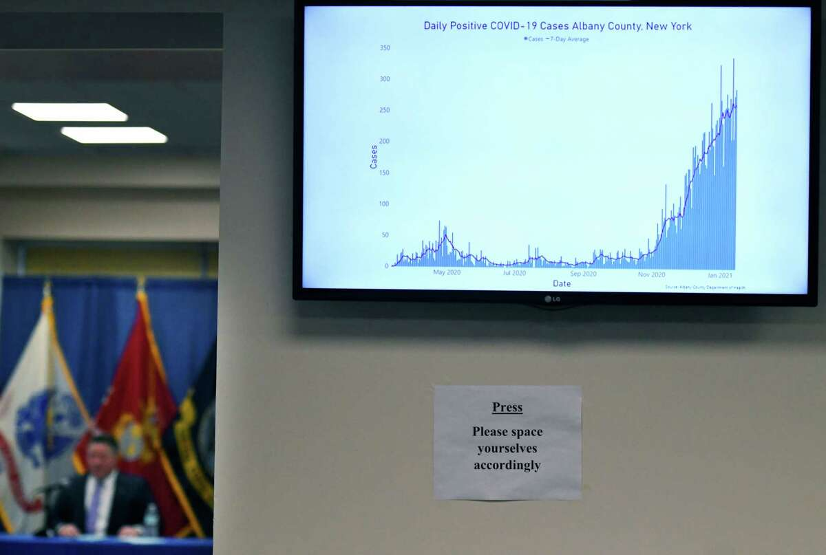 A chart showing Albany County coronavirus numbers is displayed during a virus briefing with Albany County Executive Dan McCoy, left, on Friday, Jan. 15, 2021, in Albany, N.Y. The county reported an increase of 29 new hospitalizations overnight. (Will Waldron/Times Union)