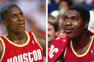 Vernon Maxwell and Hakeem Olajuwon from the Houston Rockets' glory days of the 1990s.