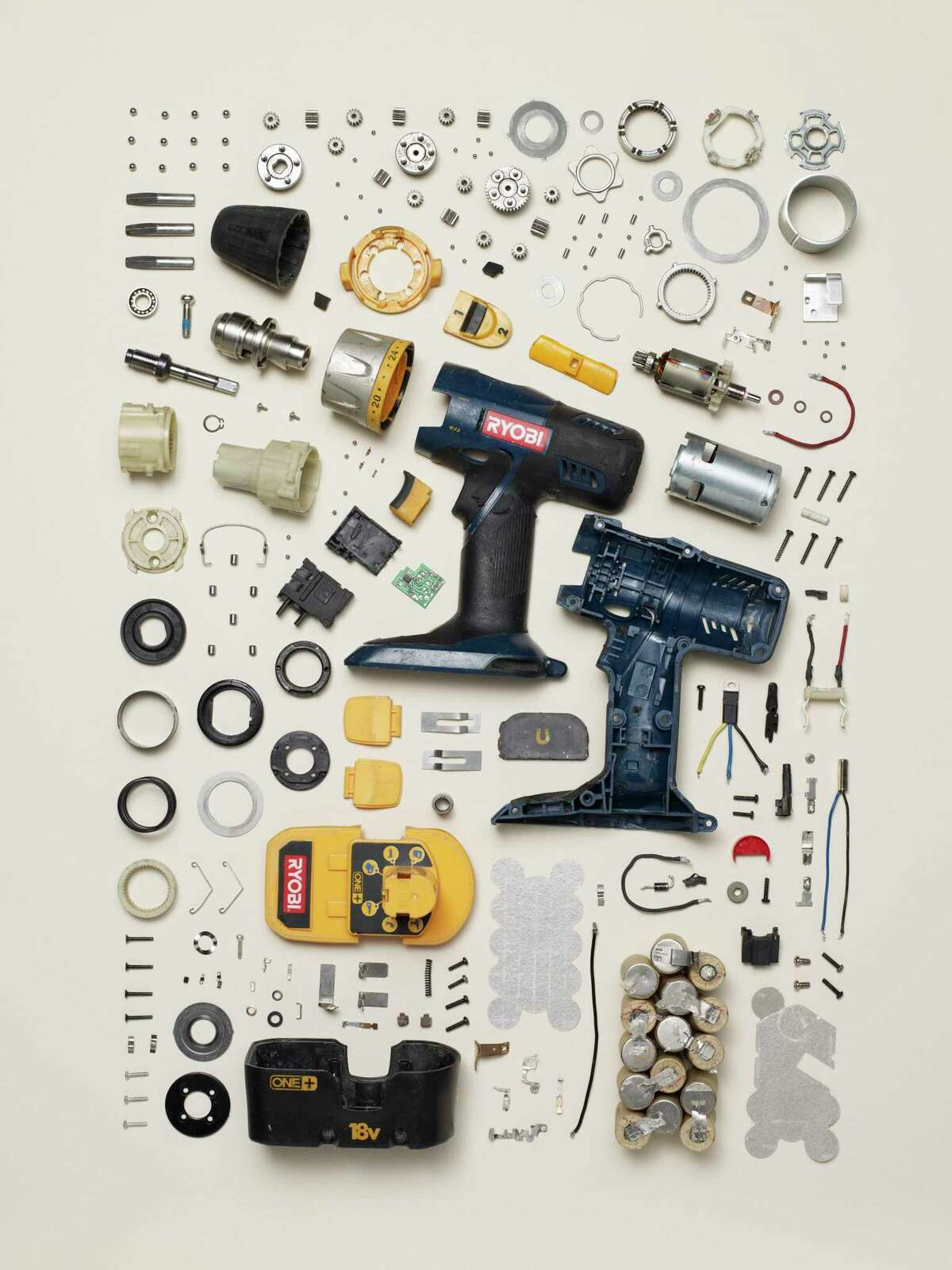 """Todd McLellan photographs disassembled objects like this drill for his show """"Things Come Apart"""" on display at the Lyman Allyn Art Museum through Feb. 7. While staying true to an object's innate purpose, McLellan created images that demonstrate that these objects were already beautifully designed. His images also speak to a culture in which """"planned obsolescence"""" runs rampant. McLellan hopes audiences take away a renewed respect for things instead of purchasing and tossing them in favor of the next biggest and best thing. """"You used to have TV-repair people back in the day. And I can see it - it costs more to repair than to buy a new one, which is sort of something that needs to be changed. Since I started this, I have seen a slow progression of people really interested in making change, which is great."""""""