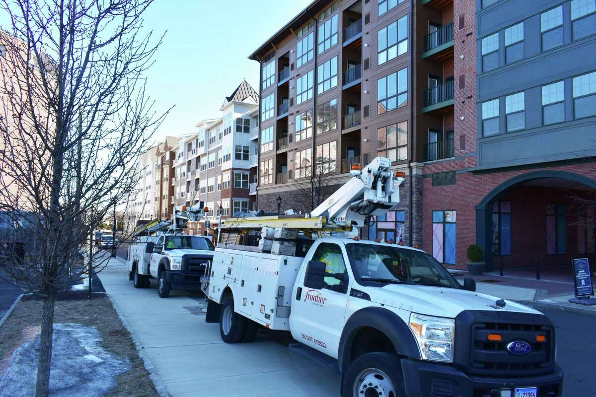 A file photo of Frontier Communications trucks in Norwalk, Conn.