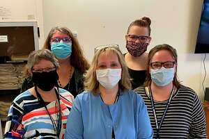 District Health Department #10 staff (front row, left to right) Stephanie Jacobs, Becky Fink, Corey Hauswirth and (back row) Jonda Schwass and Bethanie Dean vaccinated roughly 140 residents and staff at Manistee County Medical Care Facility on Jan. 13. (Courtesy Photo/Joe Coleman)