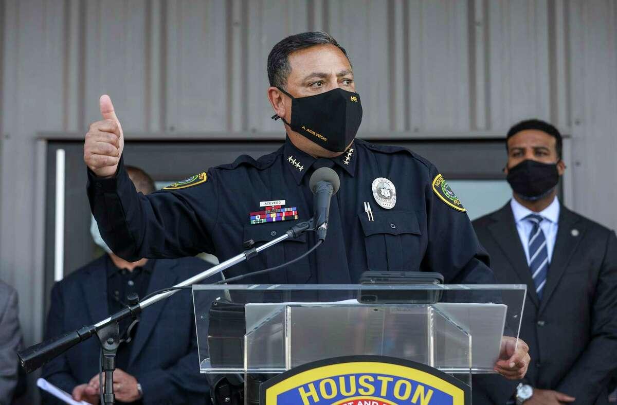Houston Police Chief Art Acevedo speaks during a ceremony to unveil a new HPD training center Thursday, Nov. 19, 2020, at the Tilman Fertitta Family Tactical Training Center in Houston.