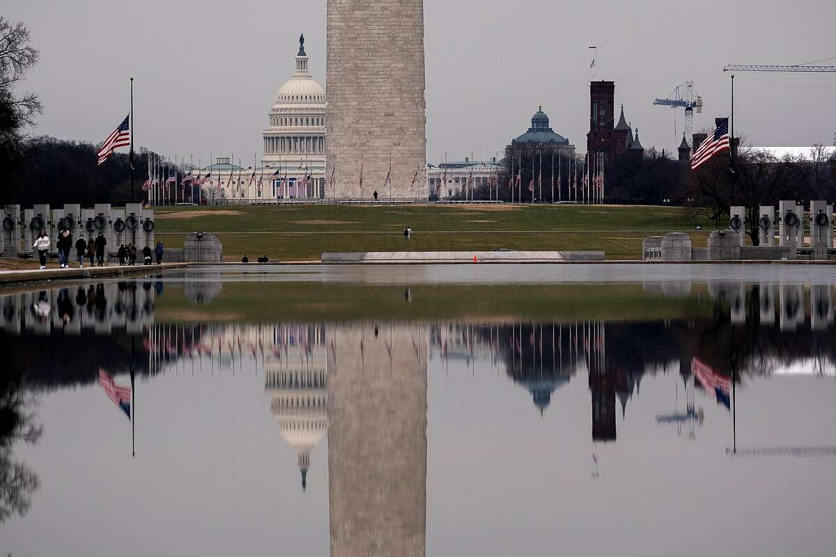 American Flags fly at half staff on the National Mall in Washington, D.C., on Jan. 11.