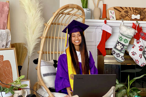 Trisha Tulud at home celebrating her graduation from San Francisco State University.