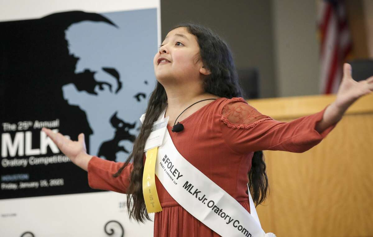 Crespo Elementary School fourth-grader Vivianna Serna delivers her winning speech Friday during the 25th-annual Martin Luther King Jr. Oratory Competition at Houston ISD's Hattie Mae White Educational Support Center in Houston. Vivianna, whose sister placed in the event in 2015, topped 11 other fourth- and fifth-grade students from Houston ISD.