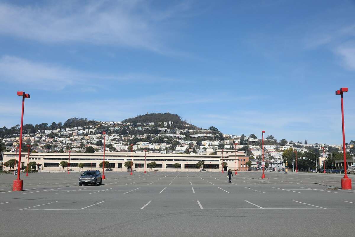 A parking lot at City College of San Francisco. San Francisco will soon open three large vaccination sites around the city, one of which will be located at City College's main campus.