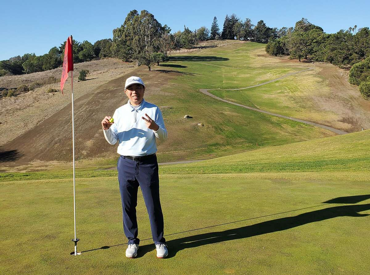 Kevin Pon holed a pitching-wedge shot to make 2 on the 18th hole at Lake Chabot on Dec. 10.