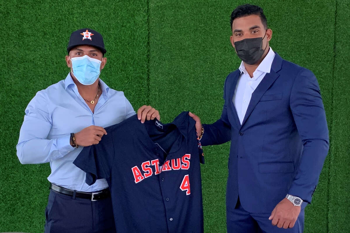 Pedro Leon (left) is expected to provide the Astros some much-needed outfield depth in their upper minor leagues.