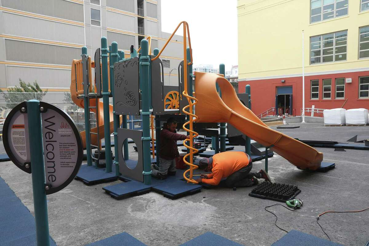 Redding Elementary school is constructing their children's playground and have moved forward with construction on Monday, Aug. 13, 2018 in San Francisco, Calif. This is one of several SFUSD schools waiting for state bond funding and have finished and moved forward with construction hoping to get reimbursed.