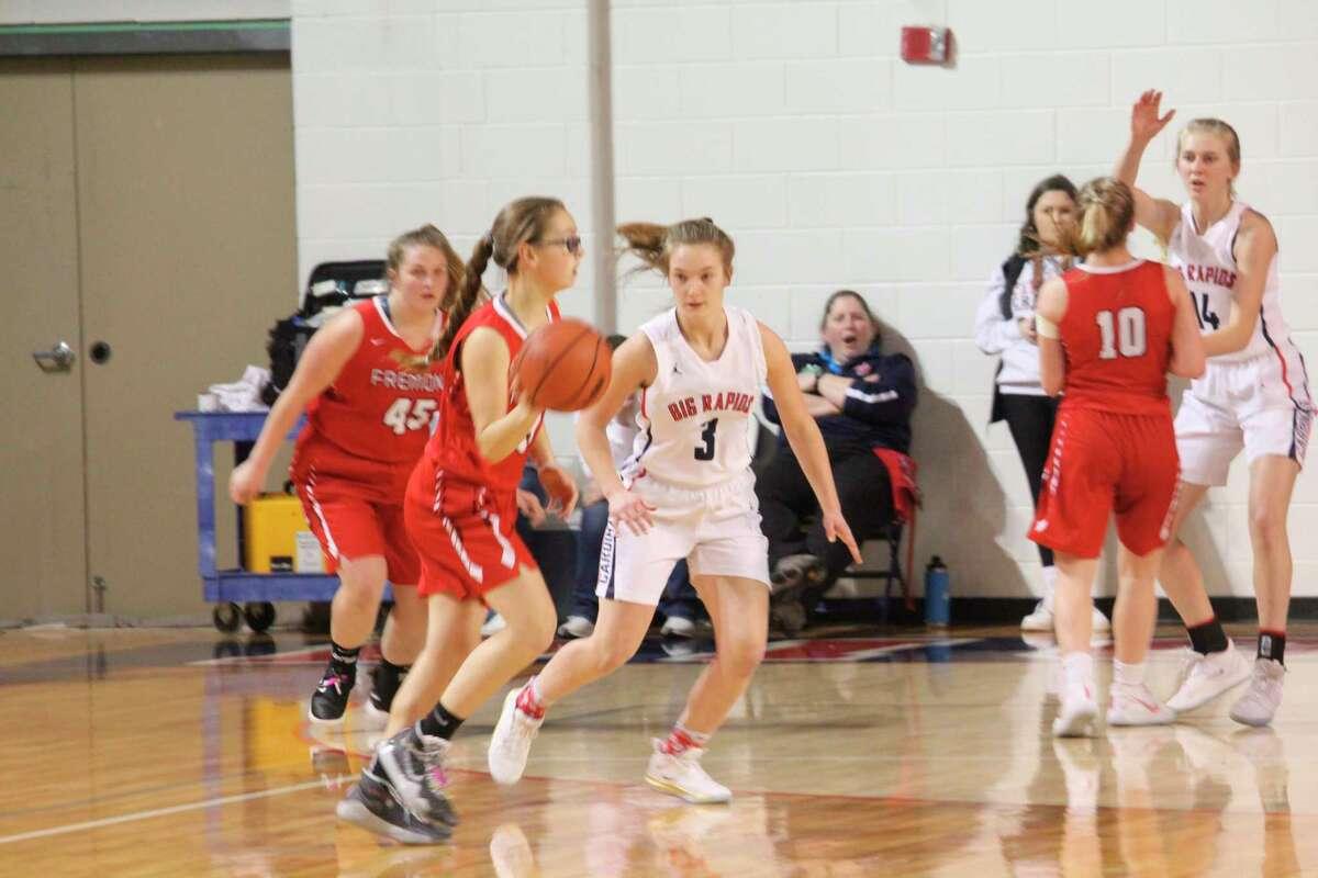 Big Rapids' Hanna Smith (3) focuses defense during the 2019-20 basketball season. (Pioneer file photo)