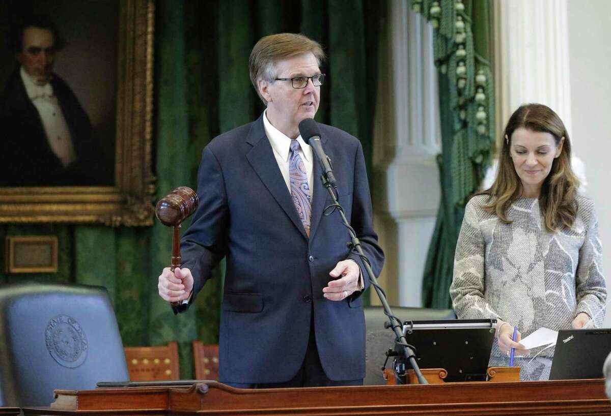 Texas Lt. Gov. Dan Patrick gavels in the vote in 2017. His decision to raise the threshold to block bills from getting to a floor vote cuts out Democrats and could come back to haunt Republicans.