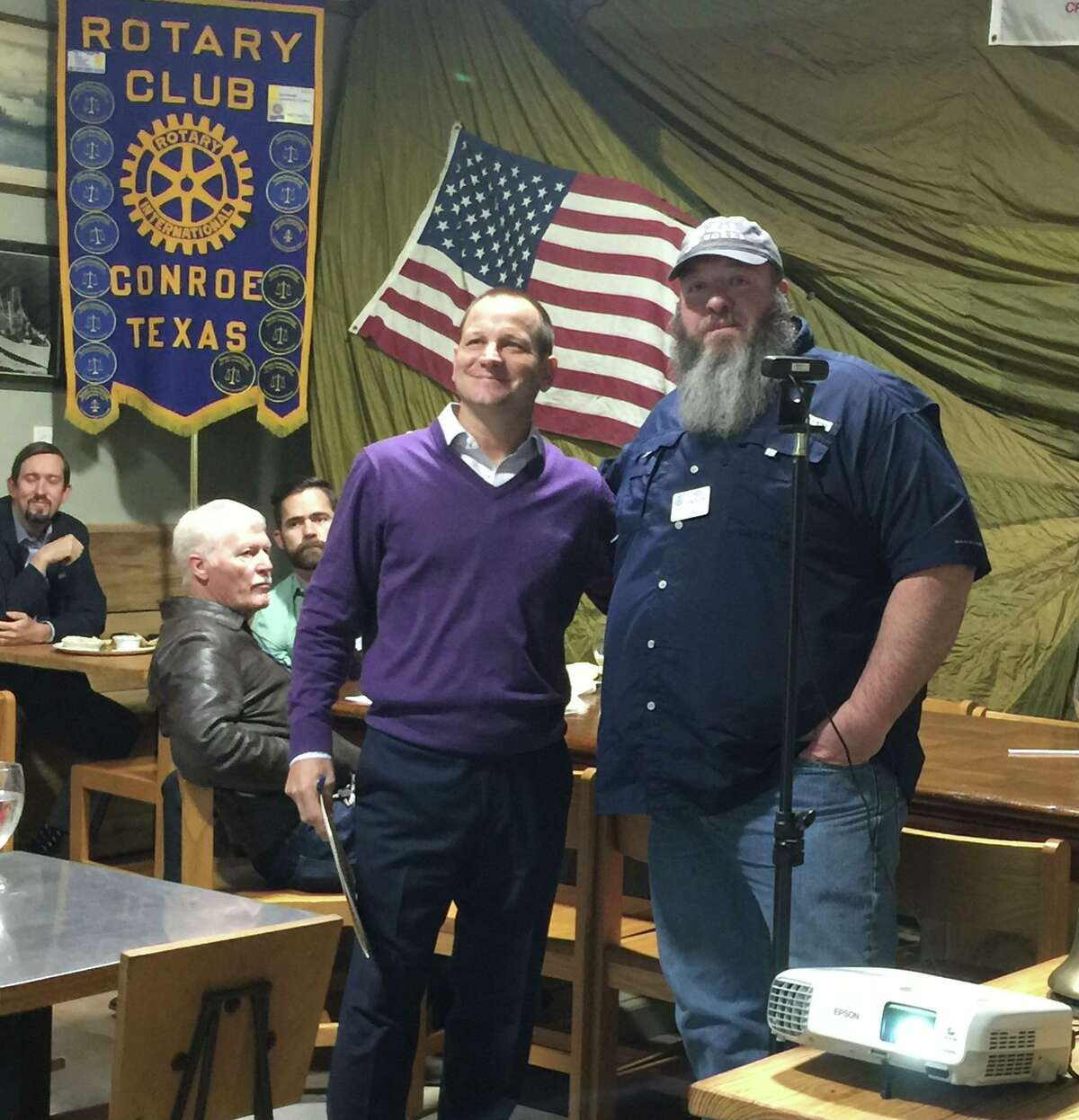 Pictured are Conroe Mayor Jody Czajkoski, left, and Rotary Club of Conroe President Chris Sadler at Wednesday RCC meeting at Honor Cafe.