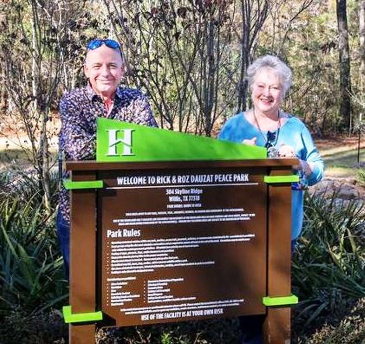 Lake Conroe Rotarian Roz Dauzat and her husband Rick, at the December 10, 2020 dedication of the new Rick and Roz Dauzat Peace Park in The Woodlands Hills subdivision.