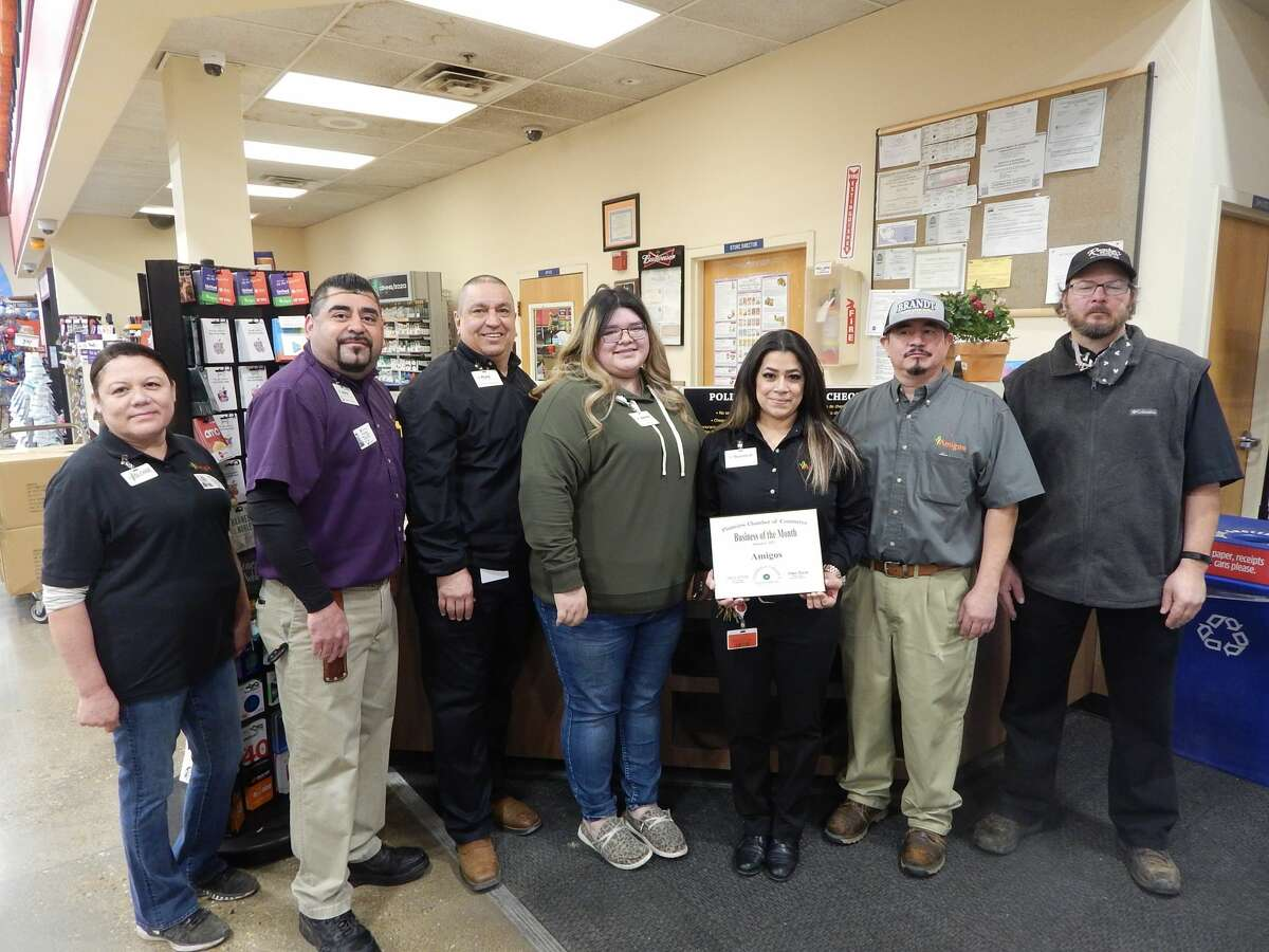 Amigos was named the Plainview Chamber of Commerce's first Business of the Month of 2021. Pictured: (L-R) Gloria Montelongo, assistant bakery manager; Jaime Ortega, deli manager; Rudy Garcia, assistant store director; Jasmine Rojas, front end lead; Rebekah Bernal, store manager; David Perez, produce manager; Brook Mickey, assistant market manager