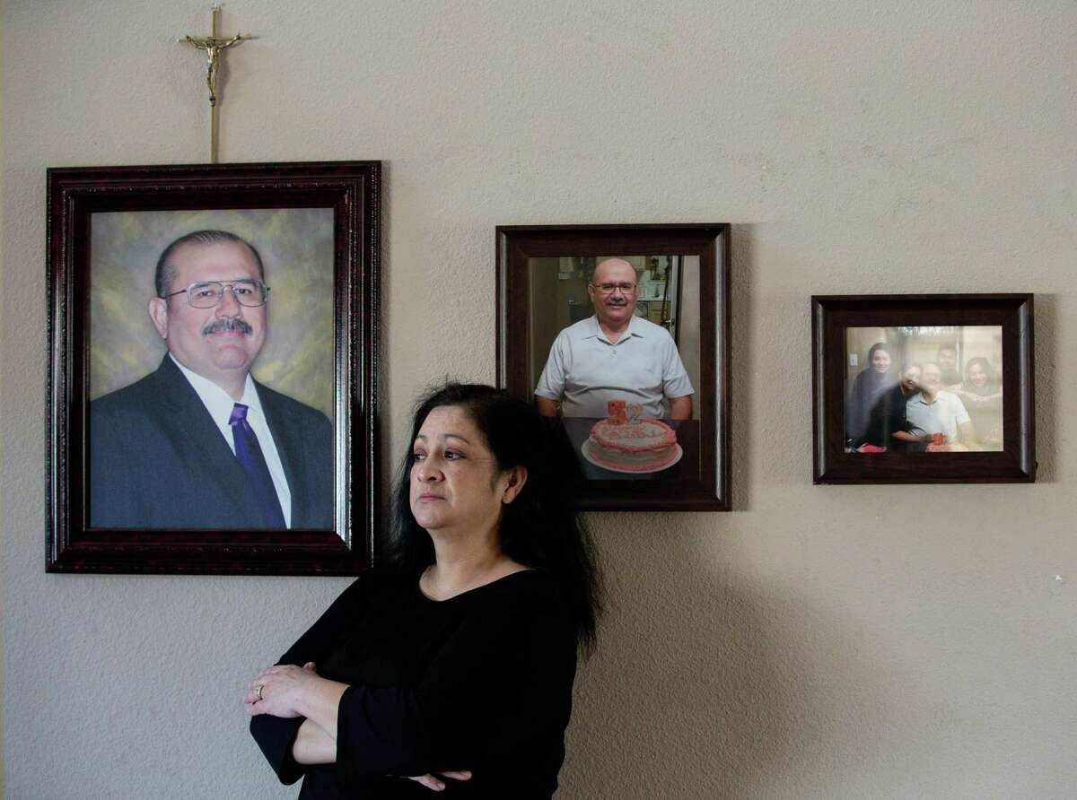 Maria Ortiz at her home Thursday, Jan. 7, 2021, in Houston. Her husband, Erick Ortiz, died of COVID-19 in early December. He fell ill a few days after he spent hours monitoring about 20 students in his Milby High School classroom to take the PSAT.