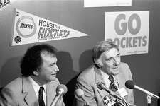 06/15/1982 - Houston businessman Charlie Thomas holds a press conference with Houston Rockets general manager Ray Patterson to announce the purchase of the franchise from The Maloof Companies. While Thomas will control 90 percent of the club, Pace Management executive Sidney Shlenker will serve as the only minority partner.