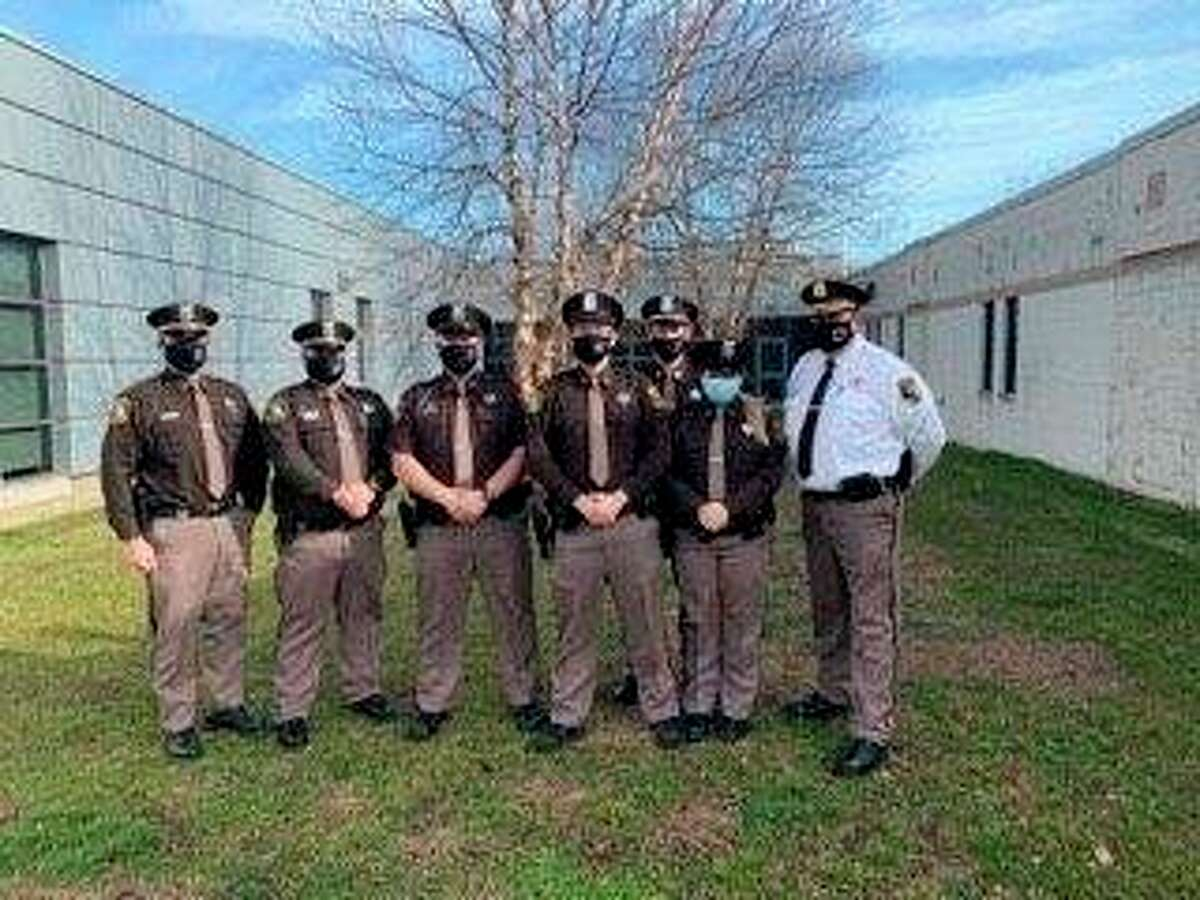 Pictured from left: Lt. Moody, Lt. McConnachie, Deputy Gould, Deputy Bartee, Sgt. Morden, Deputy Herbert, and Sheriff Rich. (Submitted Photo)