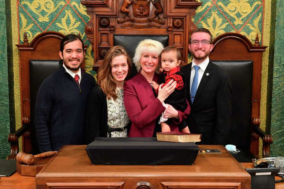 Rep. Annette Glenn is joined by her son-in-law Alejandro, daughter Reagan, grandson Mateo and youngest son Jefferson during the first day of session for the Michigan House in 2021. (Photo Provided)