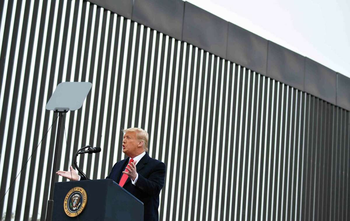 President Donald Trump speaks after touring a section of the border wall in Alamo, Texas on January 12, 2021.