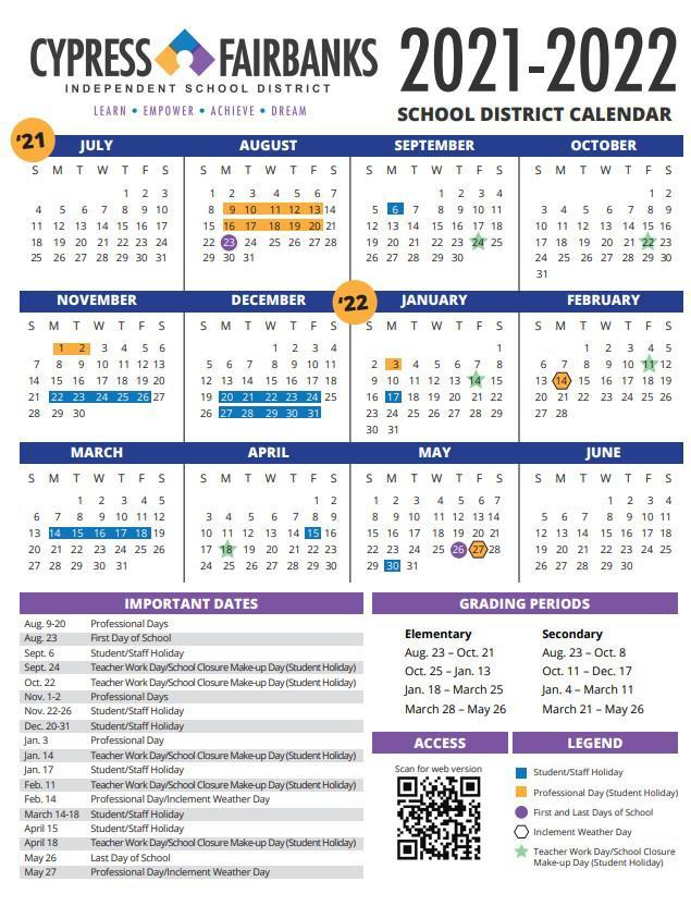 Fbisd Calendar 2022.Cy Fair School Notebook Cfisd School Board Approves Calendar For 2021 2022 School Year