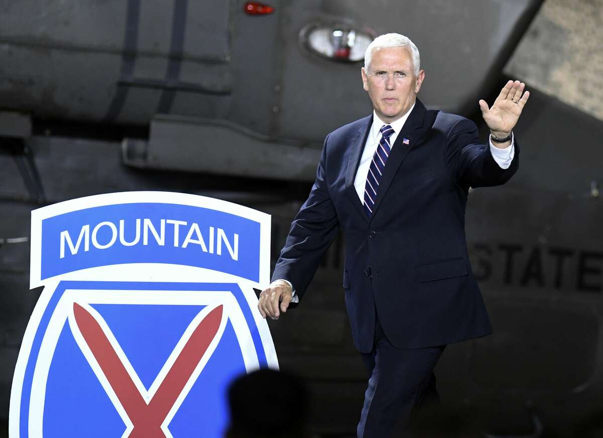 Mike Pence, shown during a 2018 visit to Fort Drum, is scheduled to visit the North Country base at 4:30 p.m. Sunday. (AP Photo/Hans Pennink)