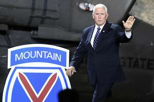Mike Pence, shown during a 2018 visit to Fort Drum, is expected to visit the North Country base on Sunday. (AP Photo/Hans Pennink)