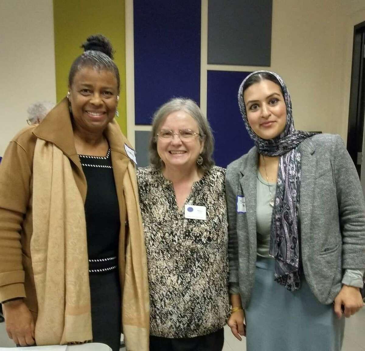 Sharon Davis of the Baha'I faith, Nancy Agafitei of the Lutheran faith, and Sana Mirza, a Sufi Muslim formed their friendship at an interfaith discussion group sponsored by the Spring Interfaith Council.