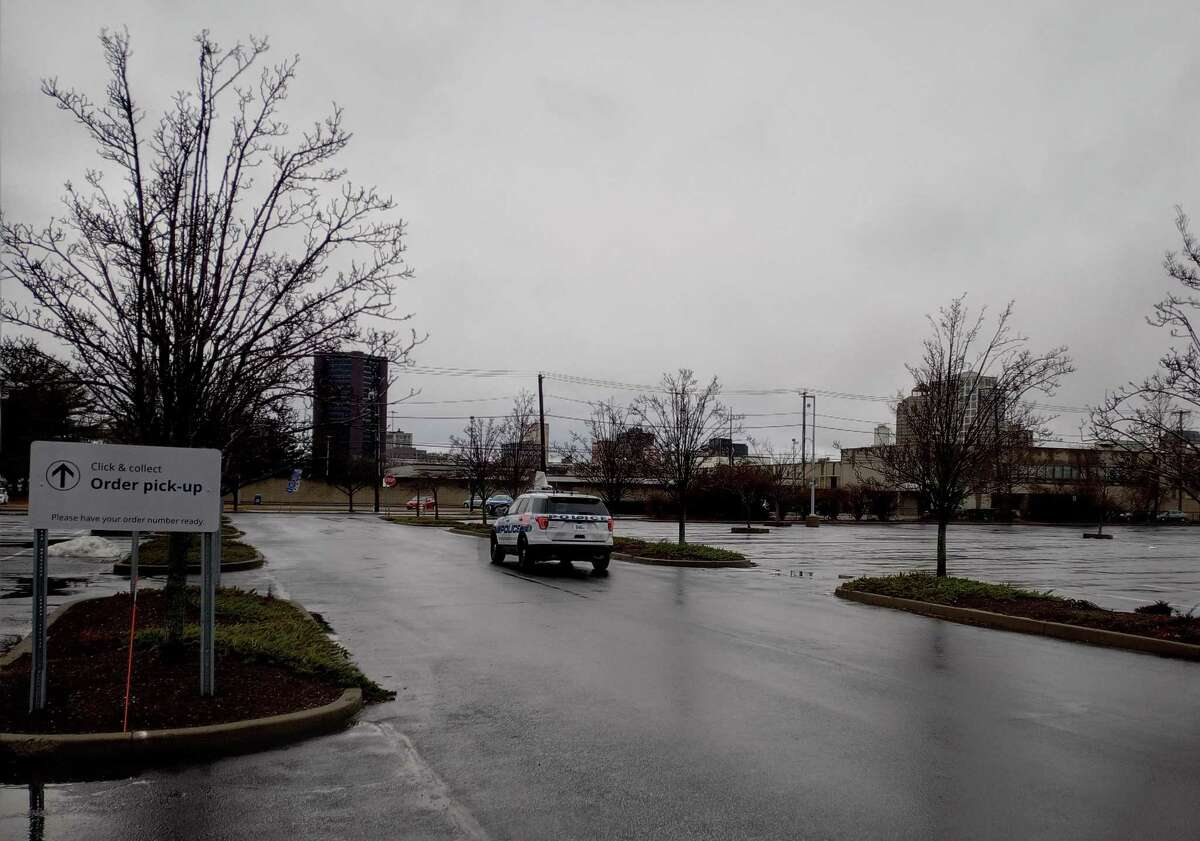 The parking lot was mostly empty - except for a cop car - at IKEA in New Haven on Saturday morning.