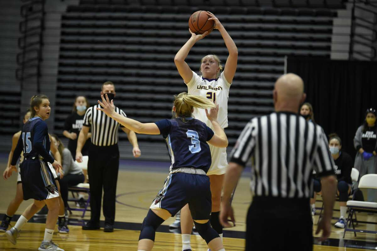 Helene Haegerstrand, seen in a game from January, had 16 points for UAlbany in Monday's loss at Stony Brook. (Kathleen Helman/UAlbany Athletics)