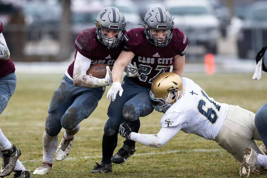 The Gladiators of Traverse City St. Francis rallied for a touchdown in the fourth quarter and ended the Cass City Red Hawks' quest for a state championship on Saturday afternoon with a 13-12 win in their Division 7 semifinal matchup in Cass City. Photo: Kaitlin S Klicks For The Tribune