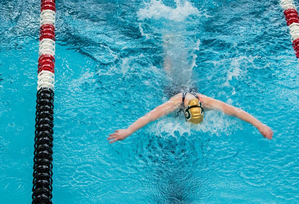 Dow's Emmy Sower competes in the 100 yard butterfly during the MHSAA Girls Division II Swimming and Diving Championships at Northview Aquatic Center Jan. 16, 2021. (Daytona Niles/for the Daily News)