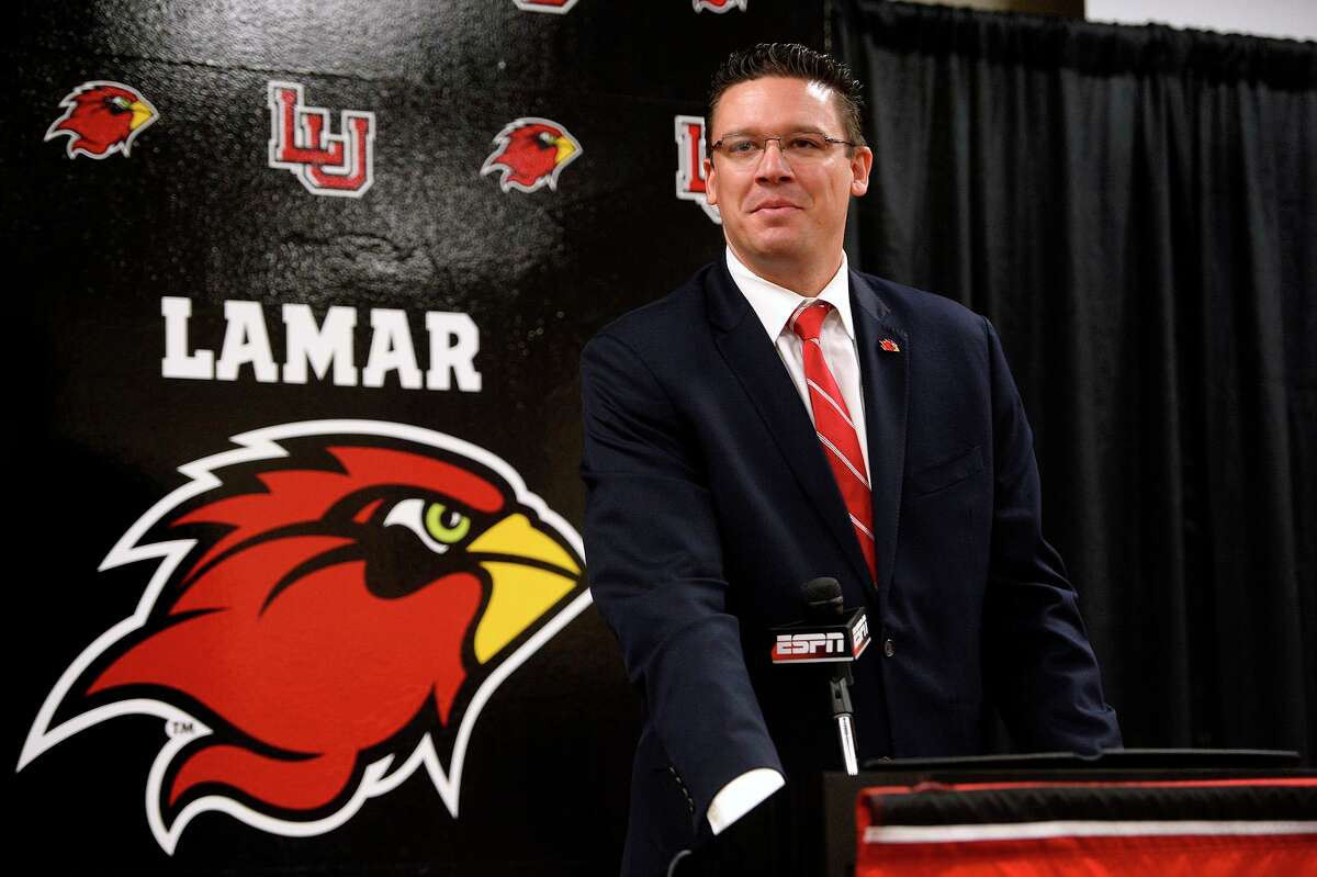 Lamar's new athletic director Marco Born speaks during his introductory press conference. Born comes to Lamar University from Louisiana Tech, where he has been an executive associate athletic director. Photo taken Wednesday 4/4/18 Ryan Pelham/The Enterprise