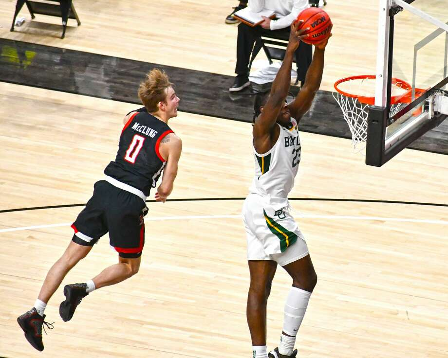 Second-ranked Baylor outlasted 15th-ranked Texas Tech 68-60 in a Big 12 Conference men's college basketball game on Saturday in the United Supermarkets Arena at Lubbock. Photo: Nathan Giese/Planview Herald