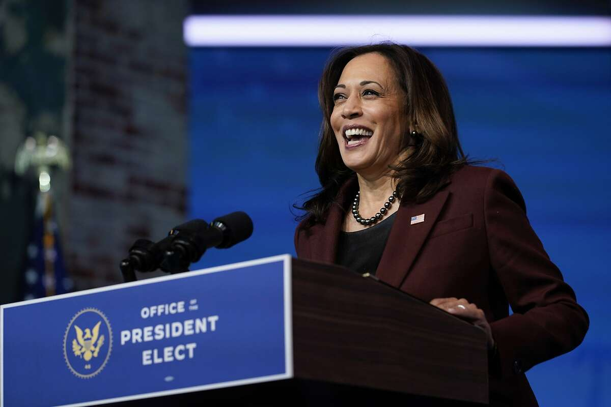 Vice President Kamala Harris speaks as she and President Biden introduce their nominees and appointees to key national security and foreign policy posts in Wilmington, Del., on Nov. 24, 2020.