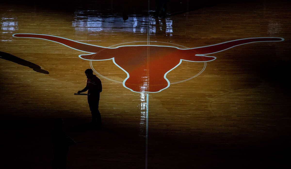 The Frank Erwin Center is empty due to COVID-19 as Texas competes against Kansas State during an NCAA college basketball game Saturday, Jan. 16, 2021, in Austin, Texas. (Ricardo B. Brazziell/Austin American-Statesman via AP)