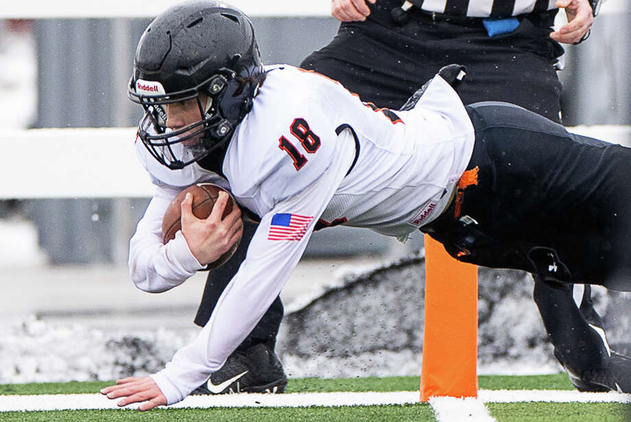 The Ubly Bearcats rolled over Johannesburg-Lewiston in their semifinal matchup in Traverse City on Saturday afternoon to earn a trip to the Division 8 championship game on Friday, Jan. 22, at Ford Field in Detroit. The Bearcats won, 43-0. Photo: Quad N Productions/For The Tribune  / copyrighted