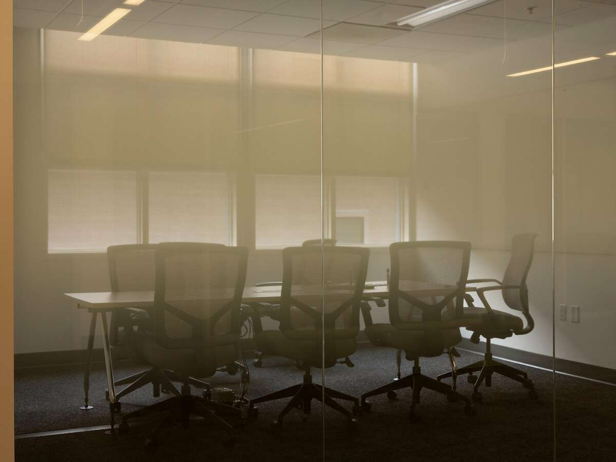An empty conference room inside the People.ai offices in San Francisco, on Dec. 15, 2020. Away from offices like those of the artificial intelligence platform People.ai, workers are relearning what
