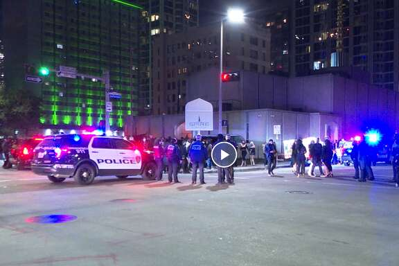 Hundreds of people were evacuated from club Spire in downtown Houston on Jan. 17, 2021.