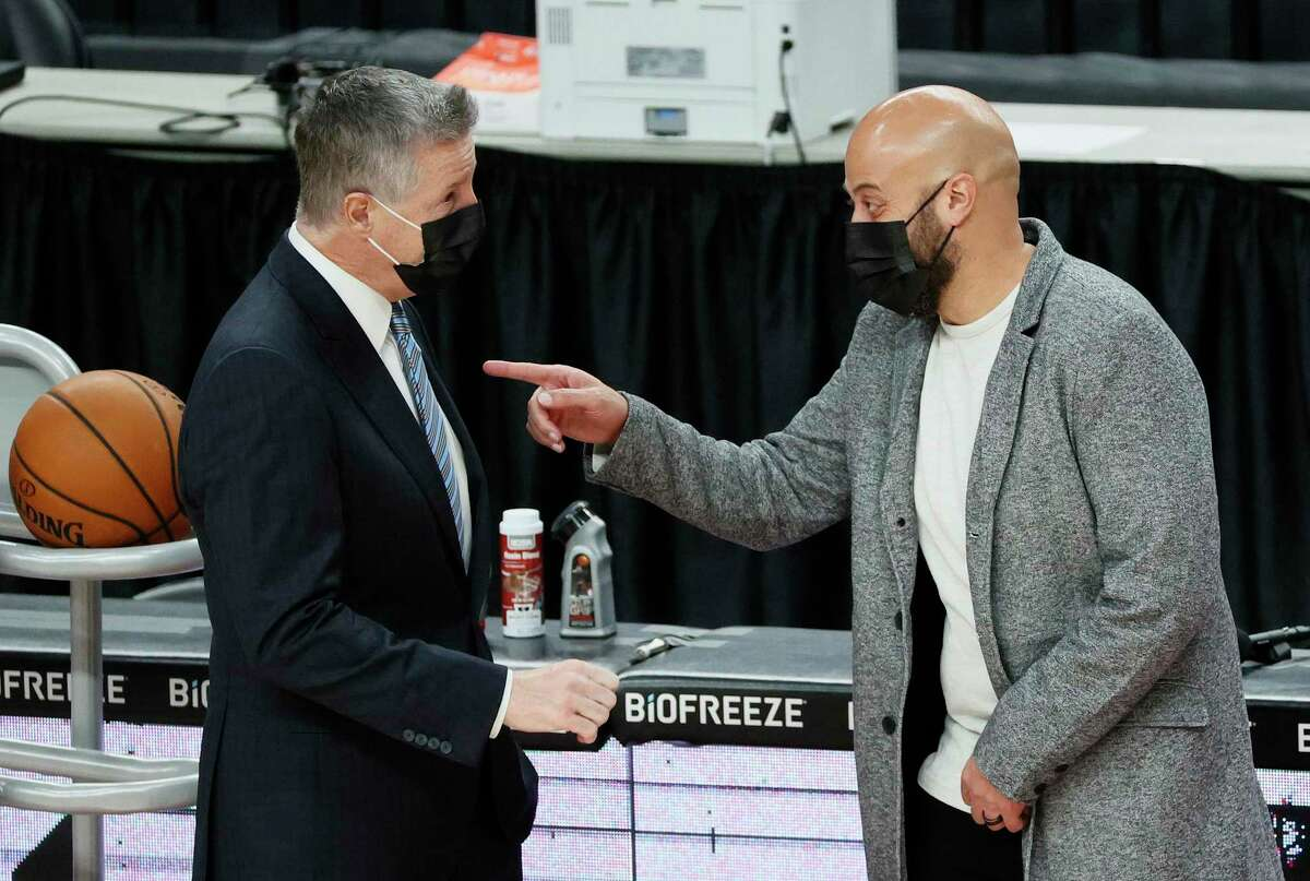 Rockets general manager Rafael Stone, talking with Portland GM Neil Oshey before the season opener, says Houston is pointing in the right direction after the James Harden trade.