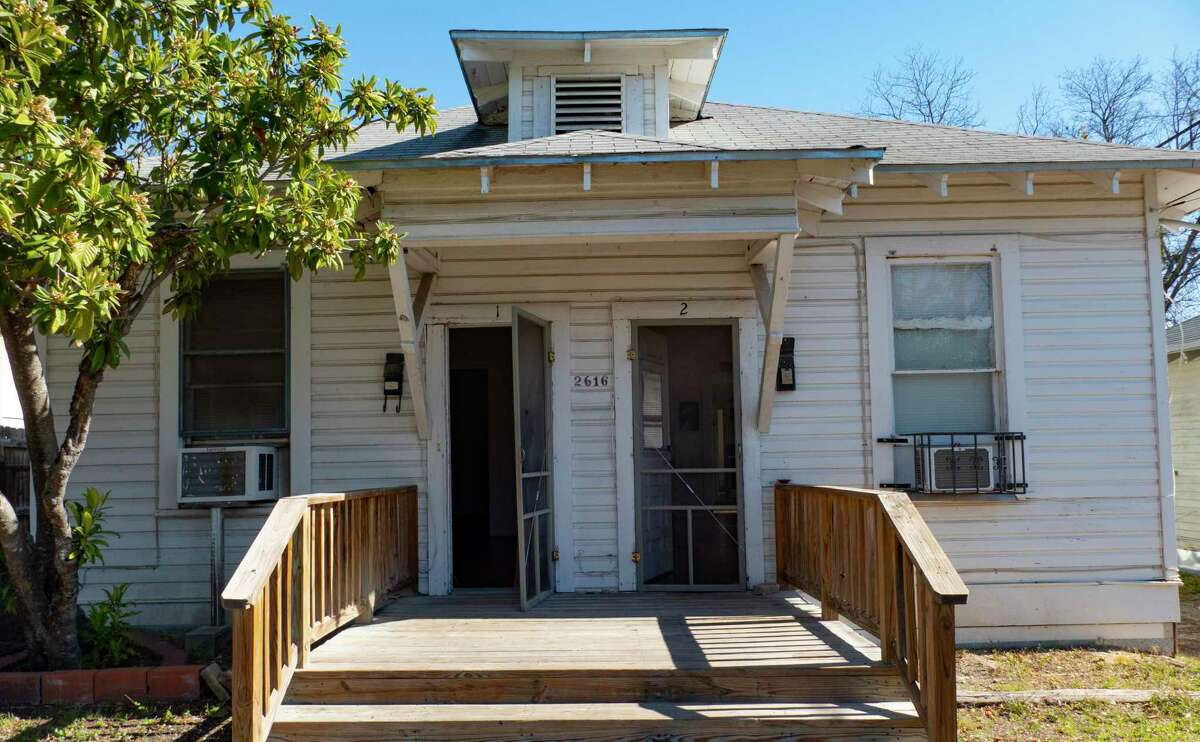 """Celia Mendoza owns this 700-square-foot """"double shotgun"""" rental unit near San Antonio College. It is one of about 300 shotgun houses spread throughout San Antonio's urban core. They were built from the 1870s to the 1930s for working-class families."""