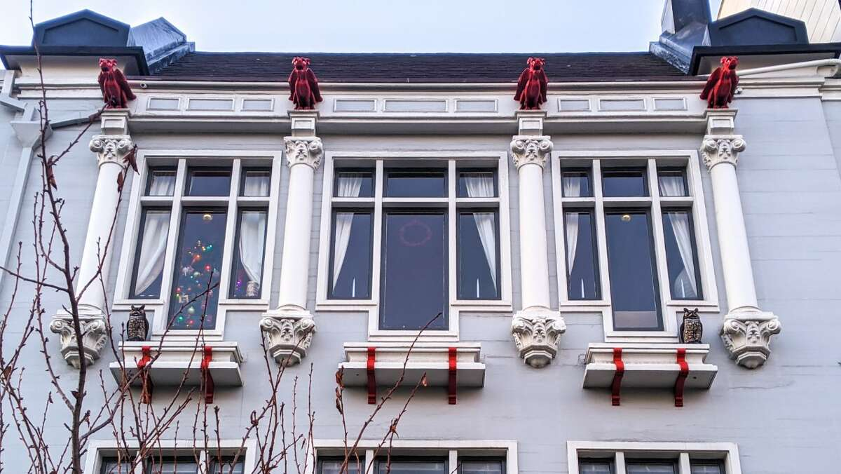 A line of gargoyles on a Pacific Heights home served as the first clue in Eddie Hernandez's scavenger hunt.