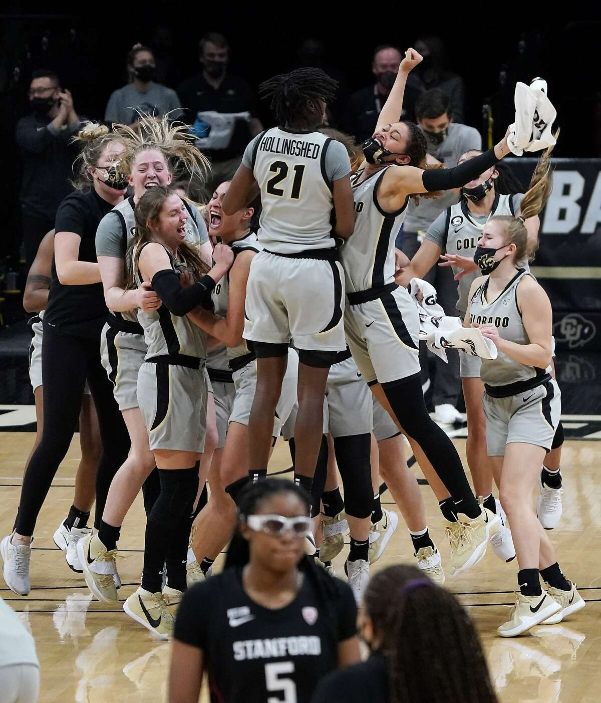 Colorado players had reason to celebrate after handing top-ranked Stanford its first loss.