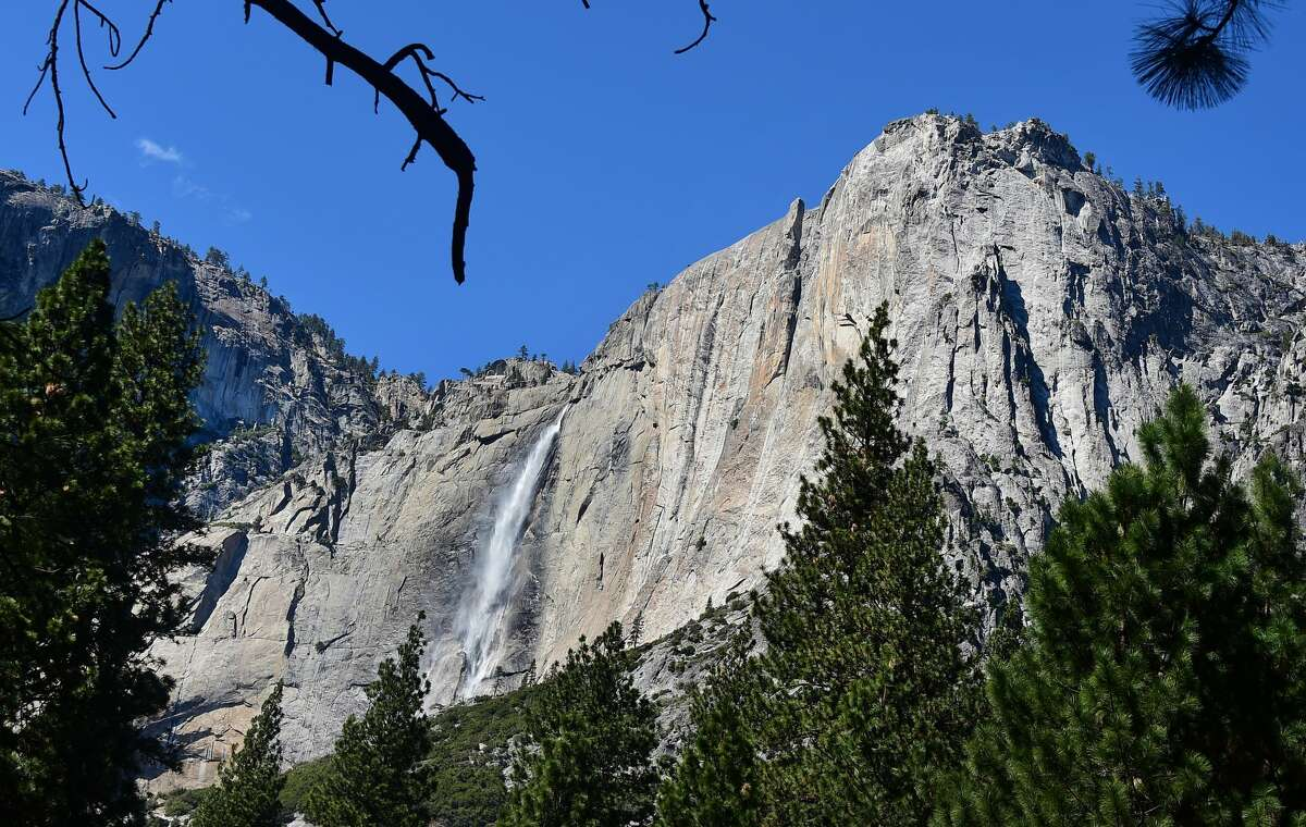 Water flows down at Yosemite Falls, the highest waterfall in North America in the Sierra Nevada mountain range at Yosemite National Park on Mar. 25, 2015.