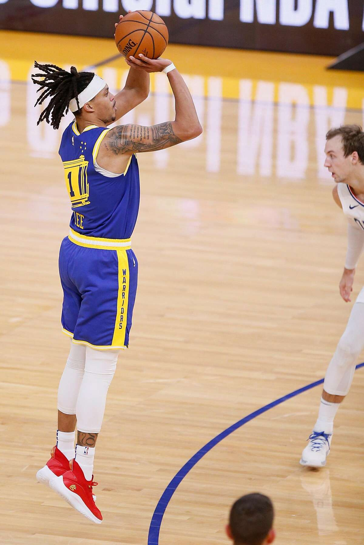 Golden State Warriors guard Damion Lee has made 21 of his 47 3-pointers this season.