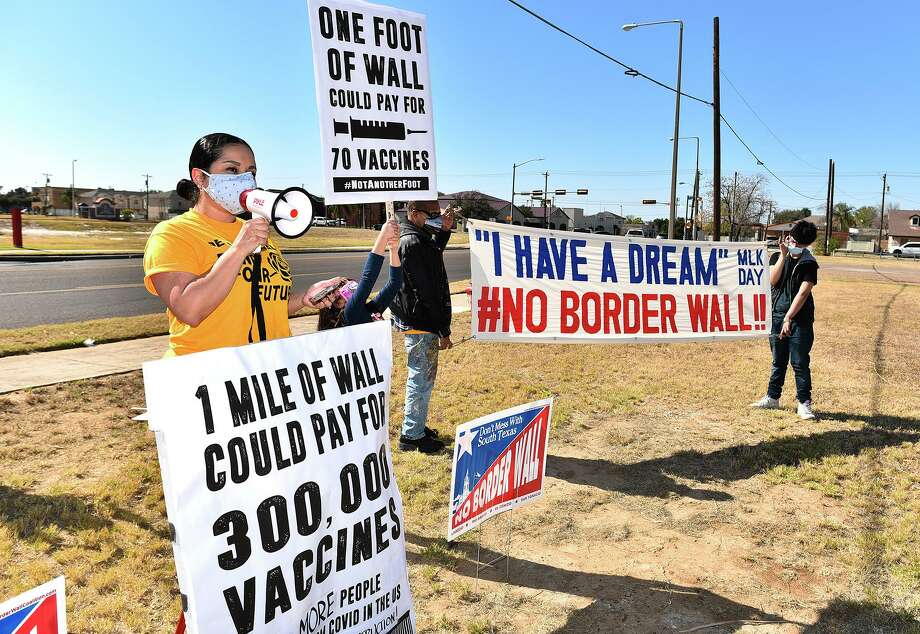 Activist and organizer for the No Border Wall Coalition Tannya Benavides calls for funding healthcare instead of a wall, Sunday, Jan. 17, 2021 across from Laredo Medical Center on Bustamante Street. Photo: Danny Zaragoza /Laredo Morning Times