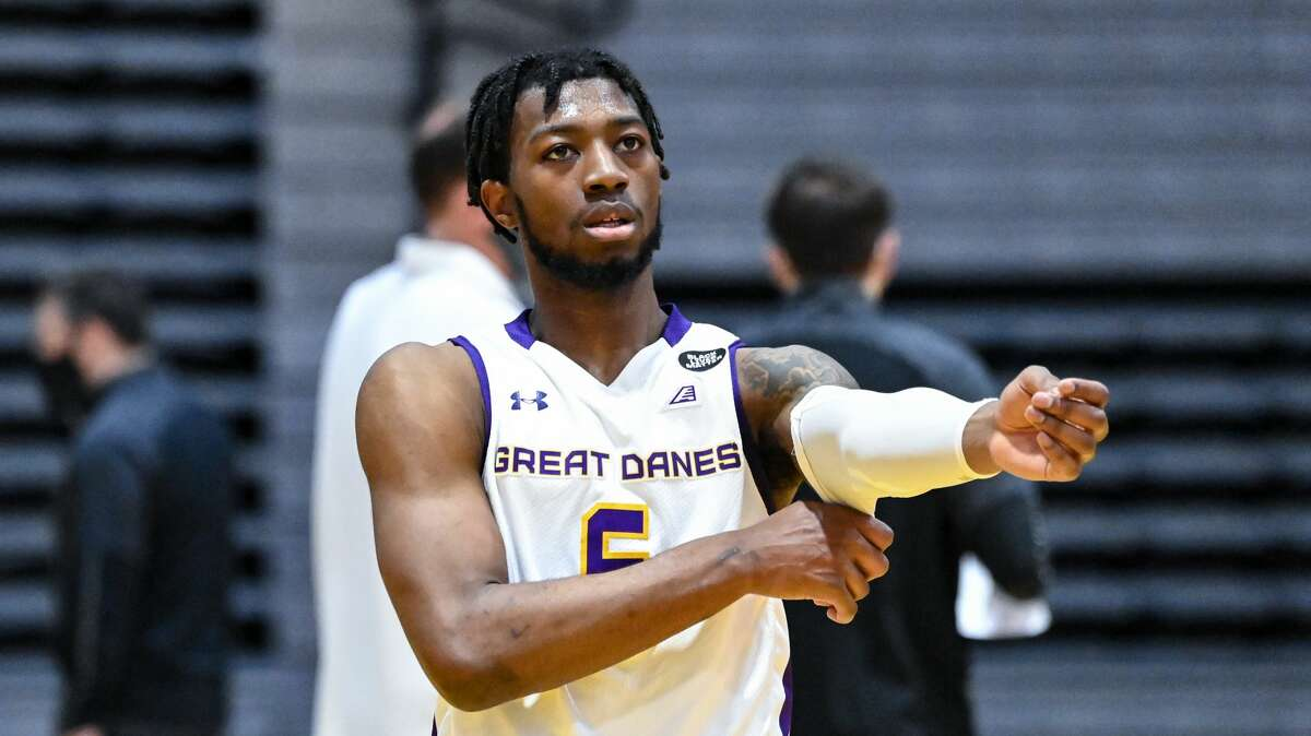 UAlbany guard Jamel Horton is part of the five-member class of transfers who have collectively provided 64 percent of the points and 62 percent of the court time for UAlbany (3-5 overall, 3-3 America East) this season. (Bob Mayberger/UAlbany athletics)