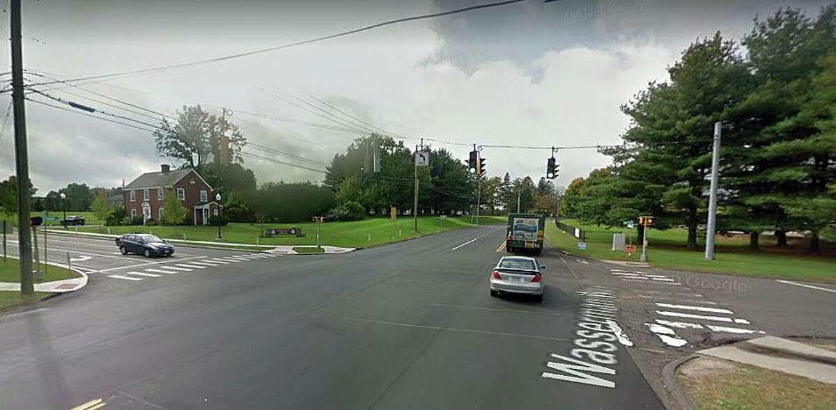 A screenshot of the intersection of Wasserman Way and Trades Lane in Newtown, Conn.